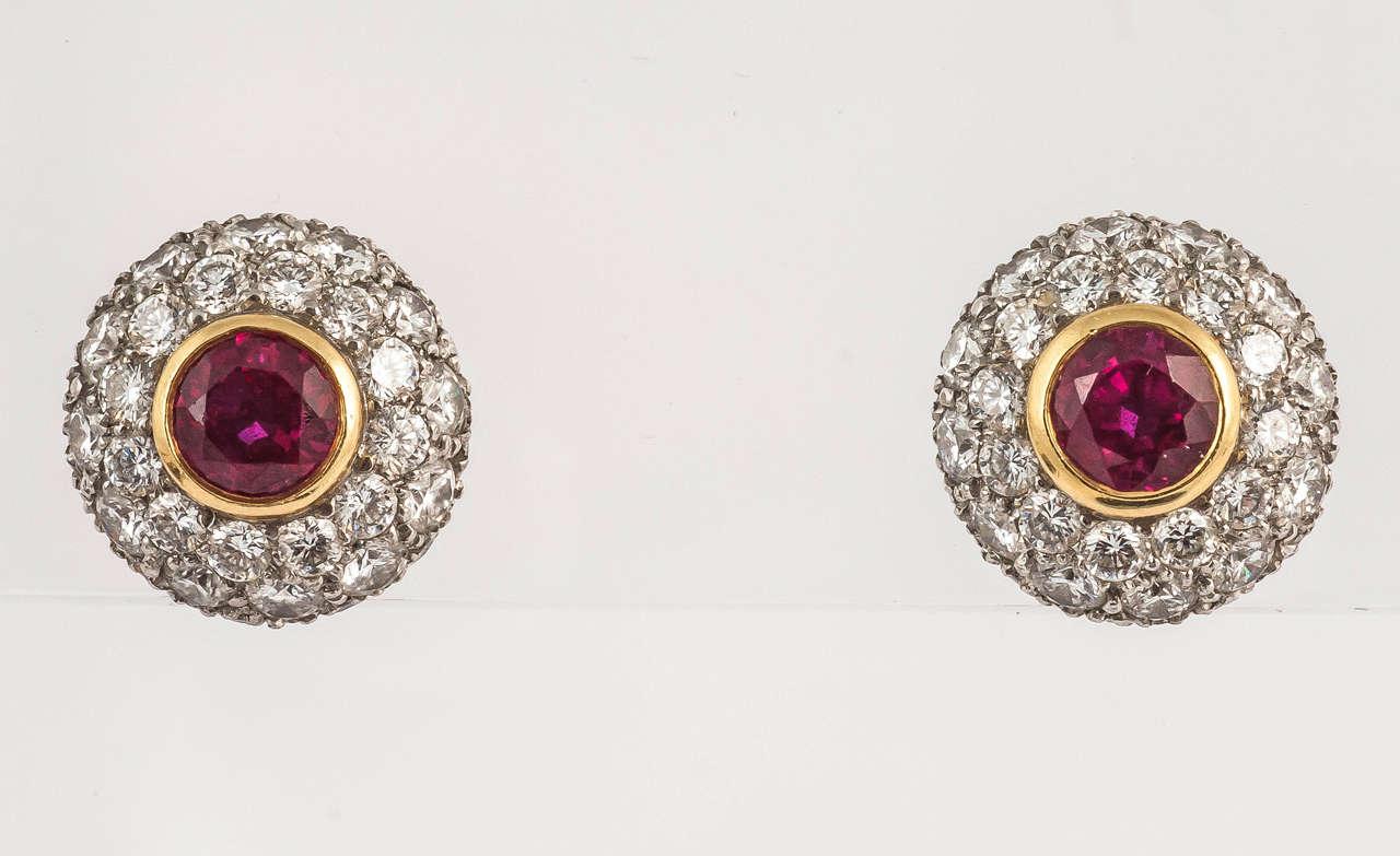 Tiffany & Co. Ruby Diamond Gold Cluster Earrings In Excellent Condition For Sale In London, GB