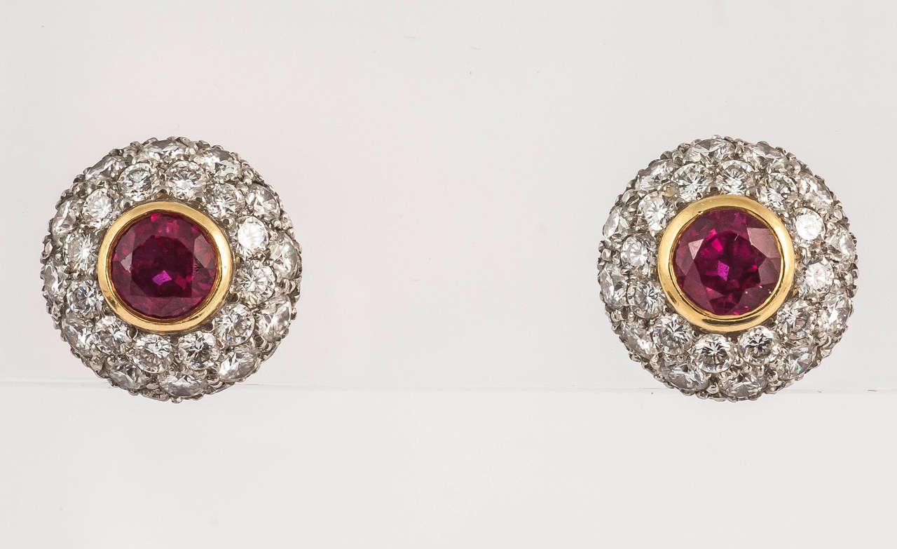 Tiffany & Co. Ruby Diamond Gold Cluster Earrings 4
