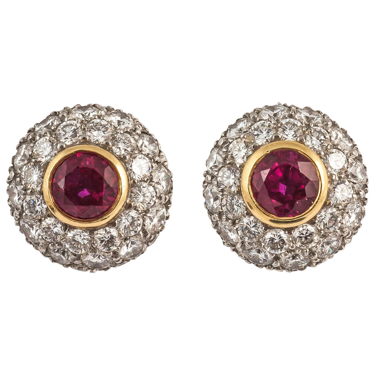 Ruby Diamond Gold Cer Earrings For