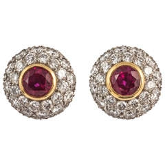Tiffany & Co. Ruby Diamond Gold Cluster Earrings