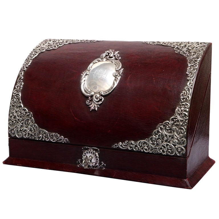 Sterling silver mounted leather letter stationery box at