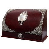 Sterling Silver-Mounted Leather Letter/Stationery Box