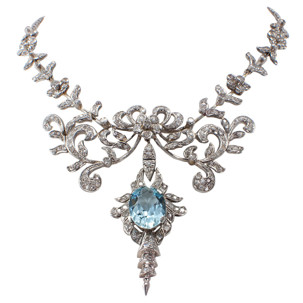 Aquamarine And Diamond Necklace at 1stdibs