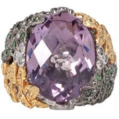 French cut Amethyst Floral Vine Fashion Ring