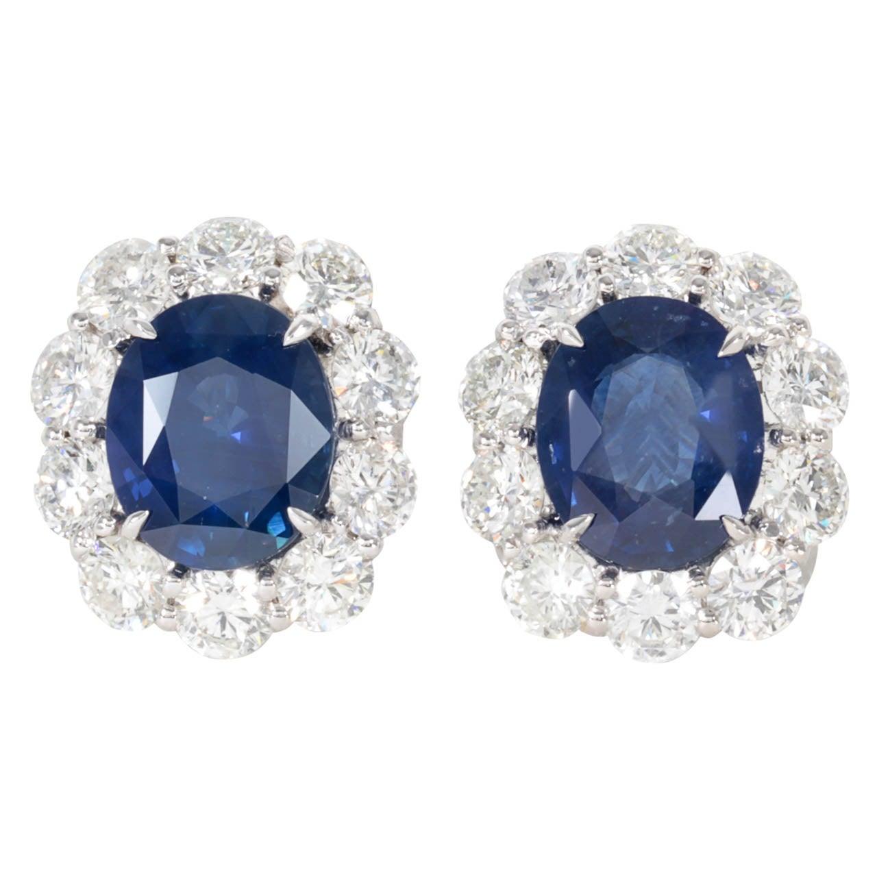 Exquisite Ceylon Sapphire Diamond Gold Earrings