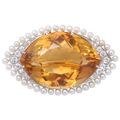 Citrine & Natural Pearl & Diamond Brooch
