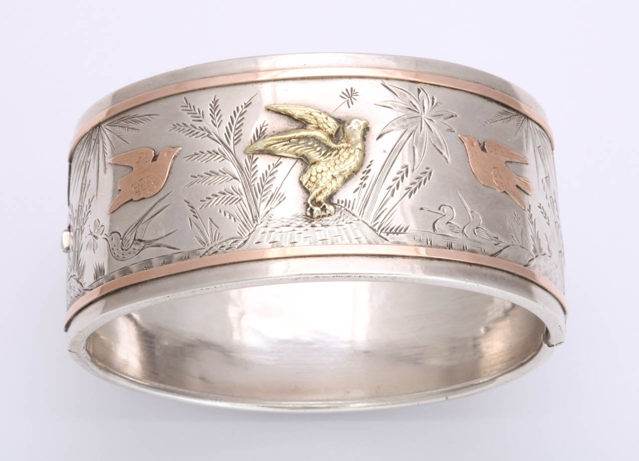 Spring Awakening:  A Victorian Cuff Bracelet In Excellent Condition For Sale In Hastings on Hudson, NY