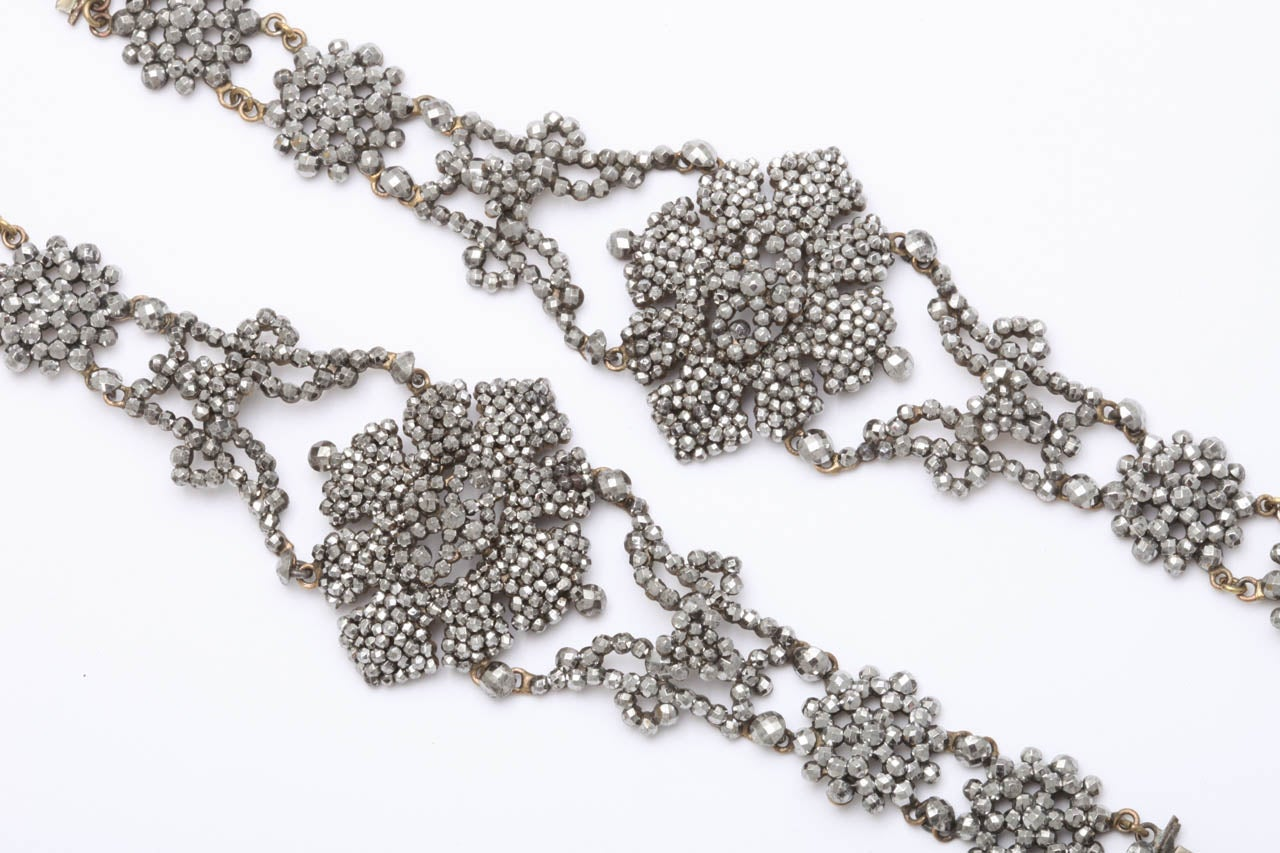 George IV A Pair Of Handmade Georgian Cut Steel Bracelets For Sale