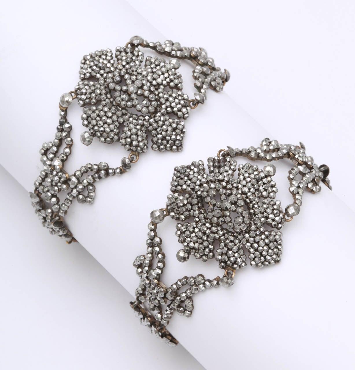 A Pair Of Handmade Georgian Cut Steel Bracelets For Sale 1