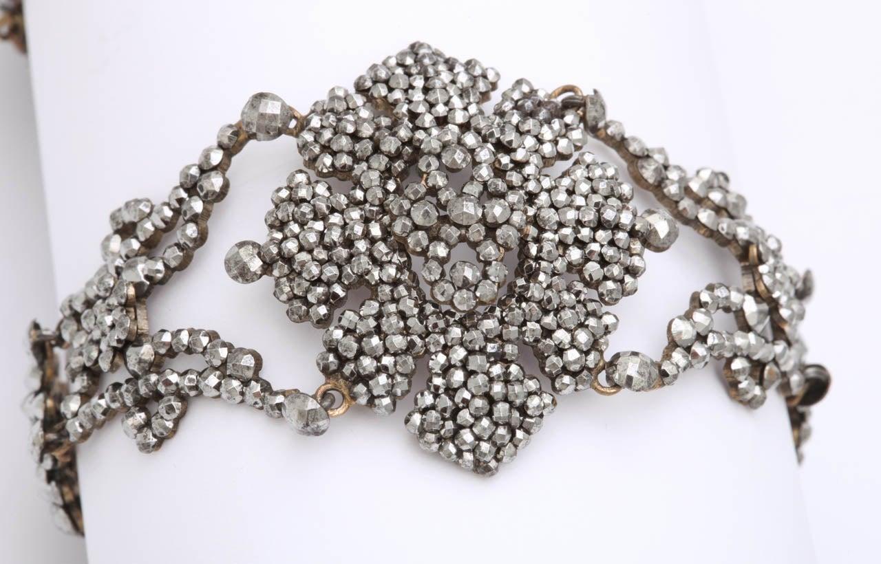 A Pair Of Handmade Georgian Cut Steel Bracelets For Sale 2