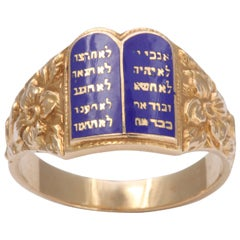 1940s Judaica Yellow Gold Blue Enamel Ten Commandments Ring