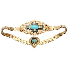 Exquisite Victorian French Enamel Turquoise Gold Bracelet