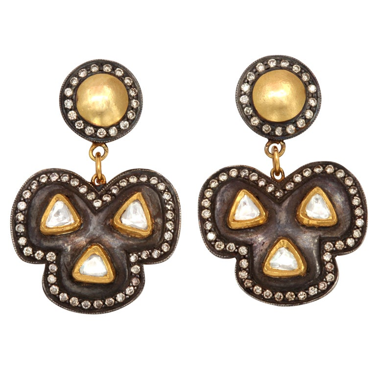 Rebecca Koven diamond gold Silver Clover Earrings