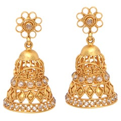 Diamond Gold Bell Earrings