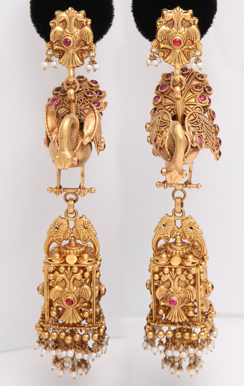 Contemporary Ruby Gold Peacock Earrings For Sale