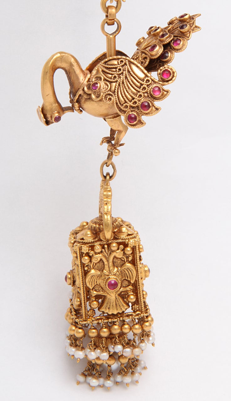 Ruby Gold Peacock Earrings For Sale 1