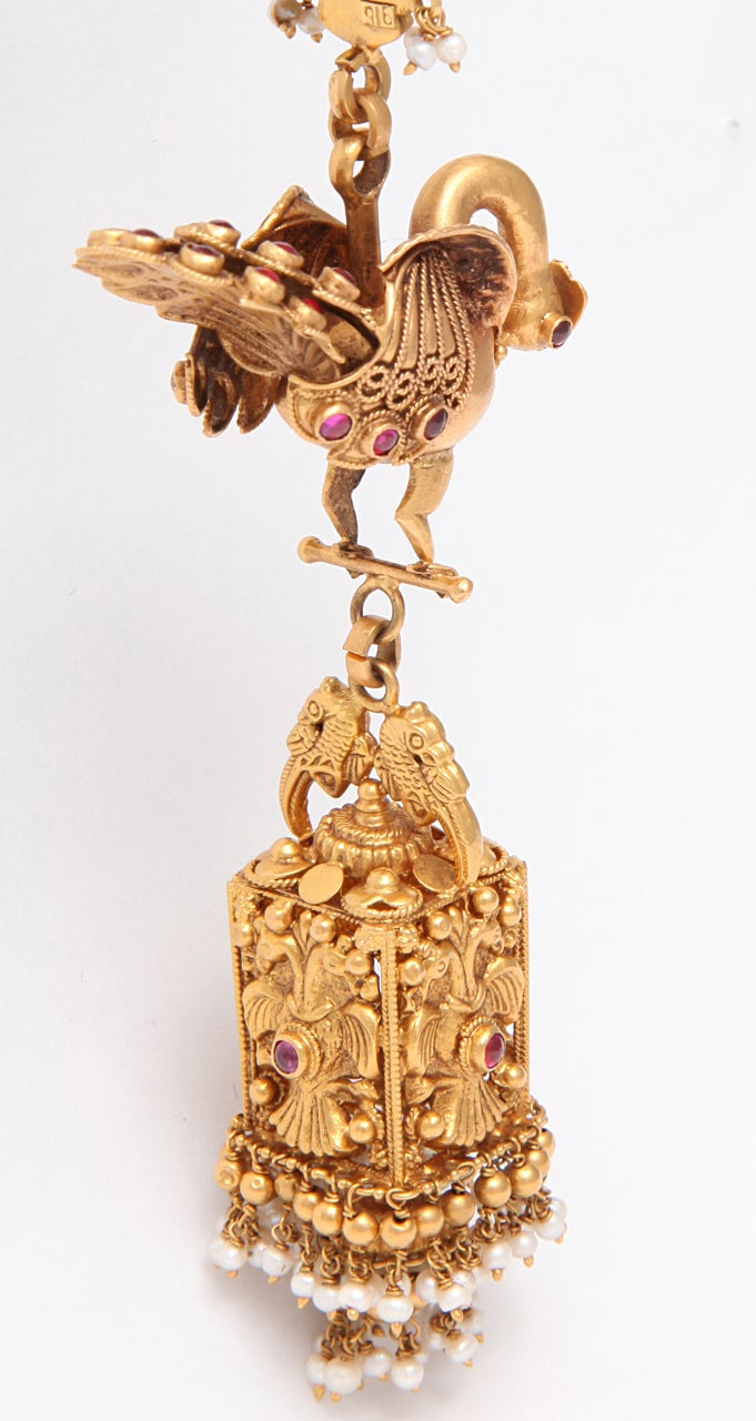 Ruby Gold Peacock Earrings For Sale 4
