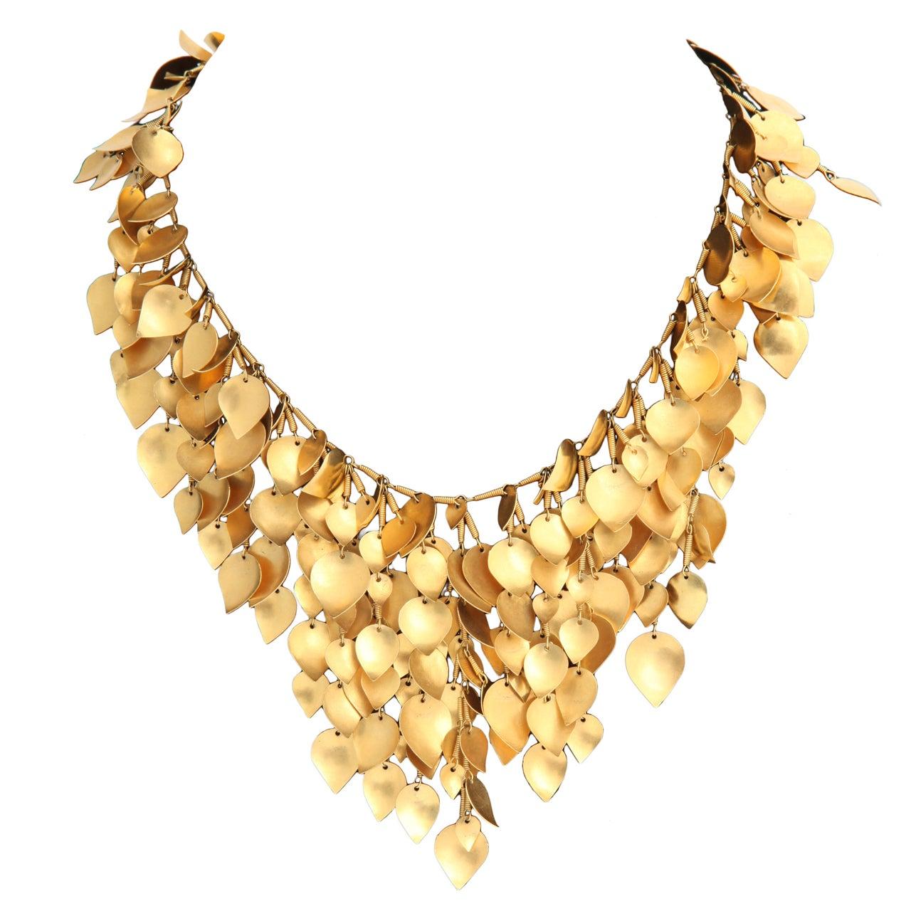 Gold Leaf Wreath Necklace At 1stdibs