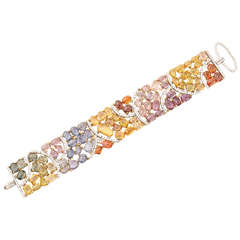 Multi Color Sapphire and Diamond Bracelet