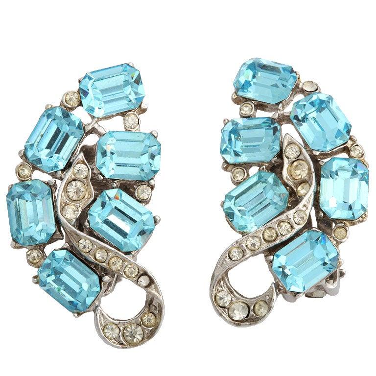 """""""Blue Topaz"""" Clip Earrings"""