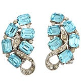 """Blue Topaz"" Clip Earrings"