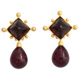 Dark Purple-Black Drop Earrings