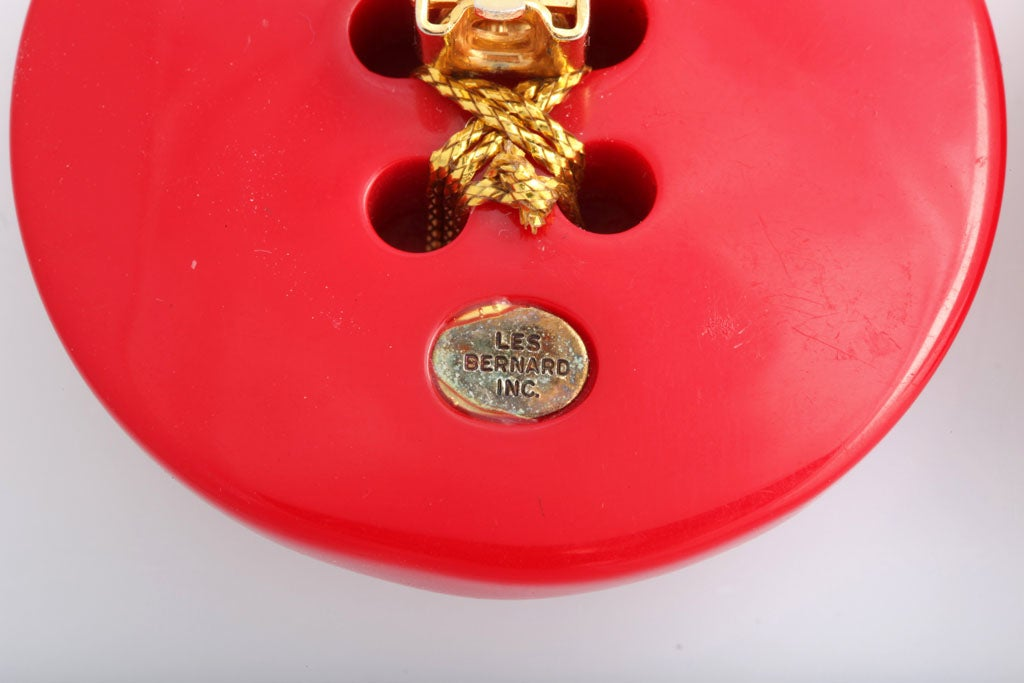 Les Bernard Huge Red Button Earrings 5
