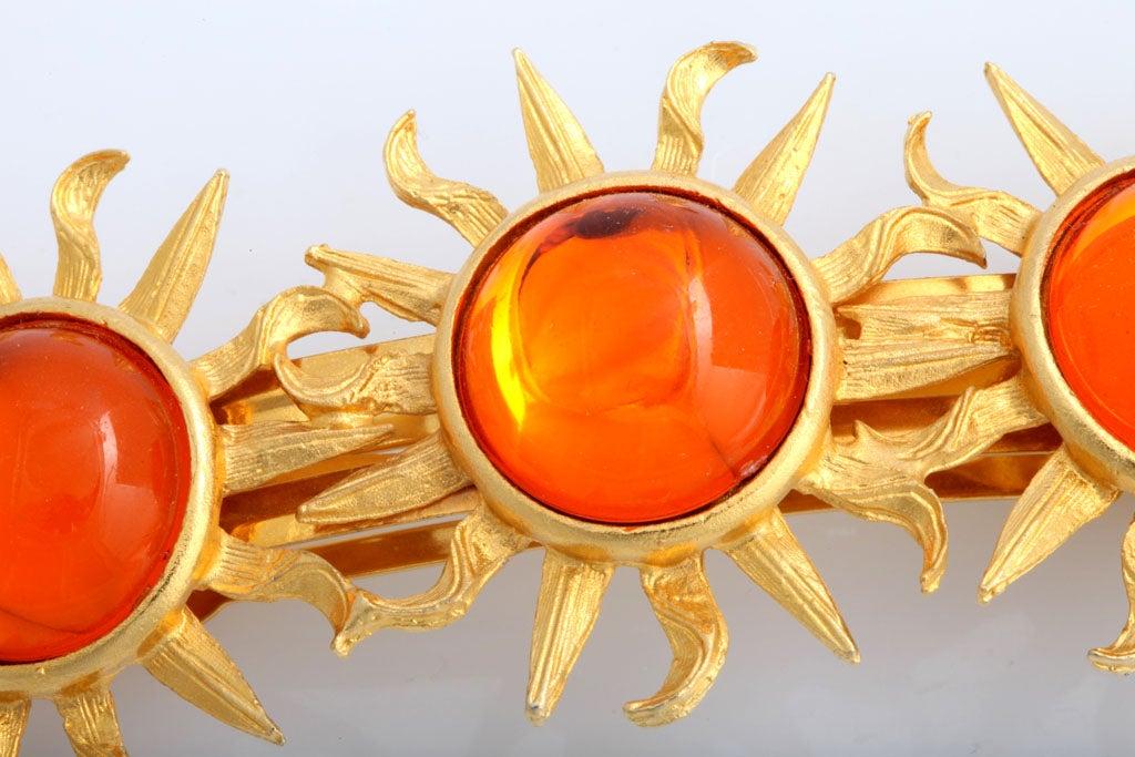 Orange Sun Goldtone Barrette In Excellent Condition For Sale In Stamford, CT
