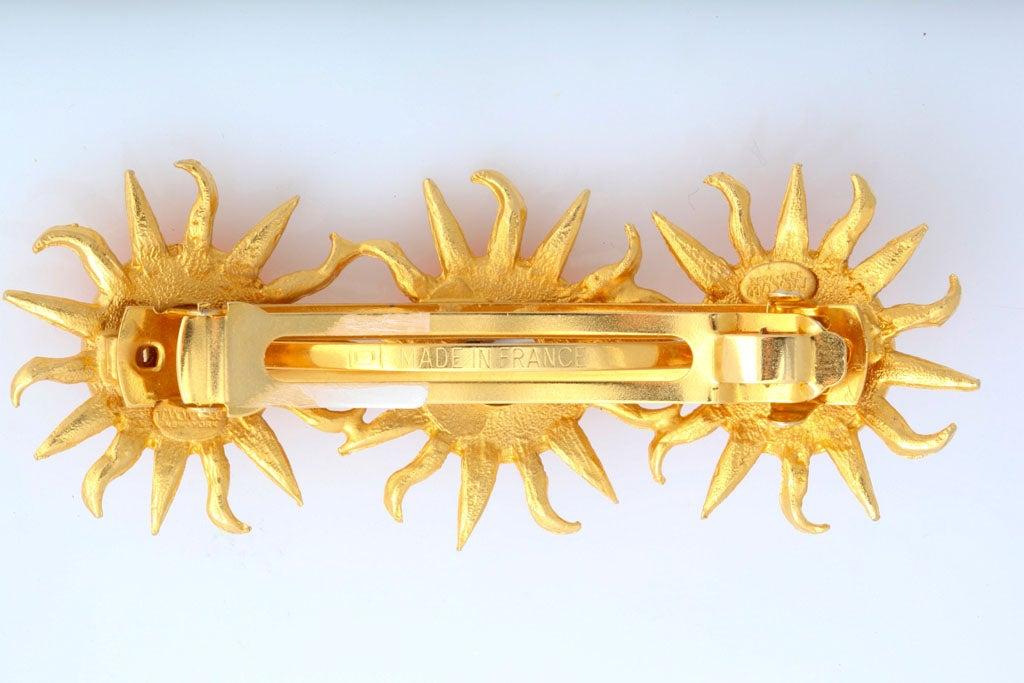 Women's Orange Sun Goldtone Barrette For Sale