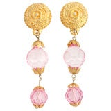 Goldtone and Pink Lucite Dangle Earrings