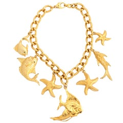 """Gold"" Fruits of the Sea Necklace, Costume Jewelry"