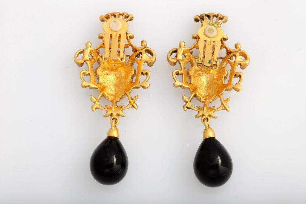 Goldtone Crest Drop Earrings 4
