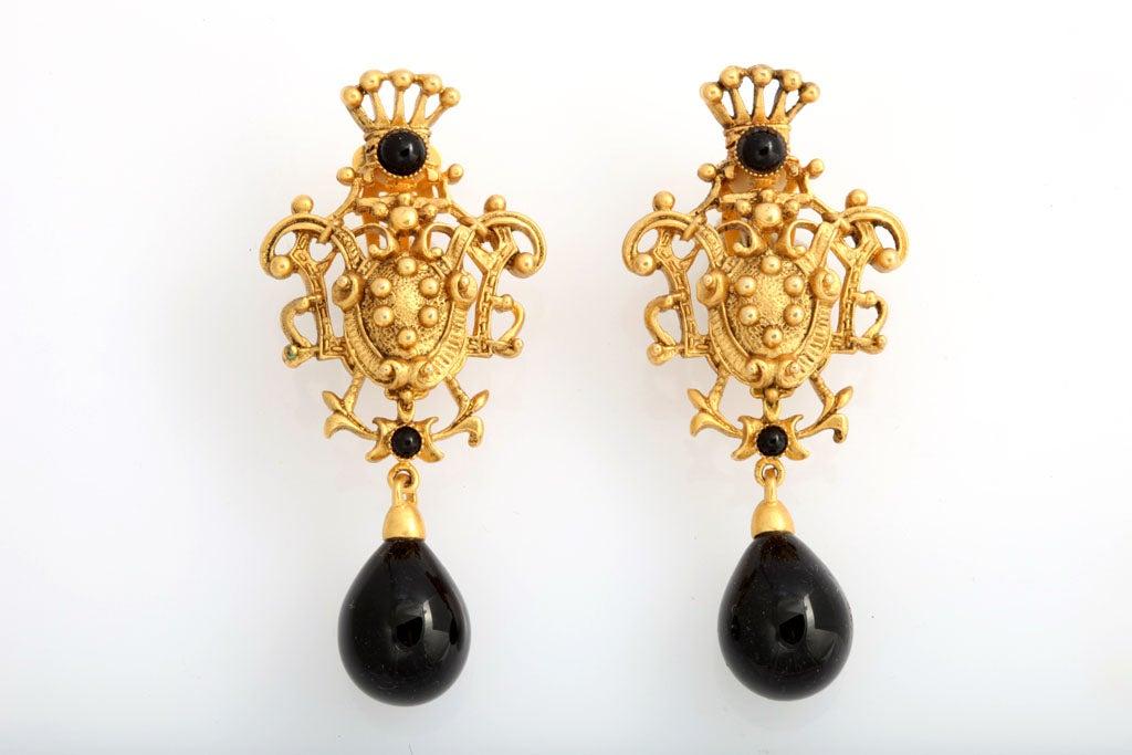 Goldtone Crest Drop Earrings 2
