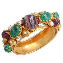 Hattie Carnegie Wide Goldtone Bangle with Large Stones