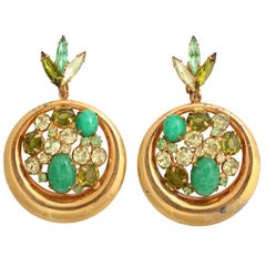 "Green Rhinestone and ""Gold"" Hoop Earrings"
