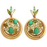"Green Rhinestone and ""Gold"" Hoop Earrings"