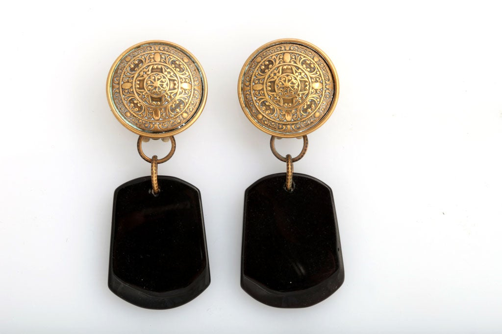 Jan Michaels Large Black Dangle Earrings 2