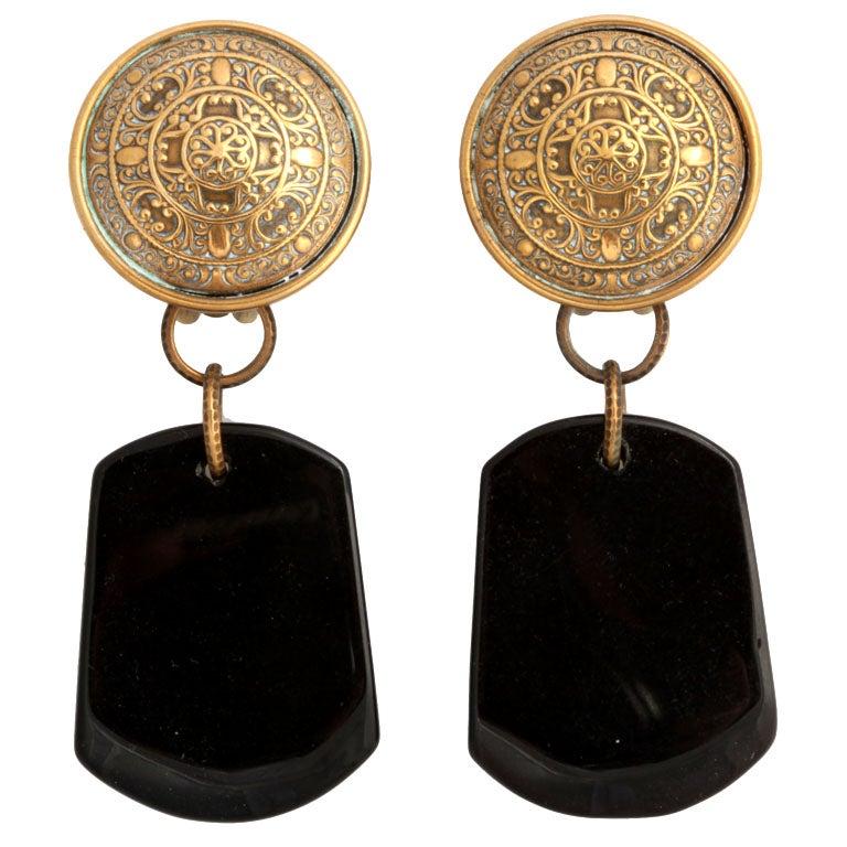 Jan Michaels Large Black Dangle Earrings 1