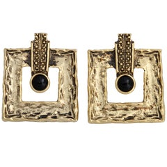 Large Square Goldtone Earrings, Costume Jewelry