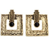 Large Square Goldtone Earrings