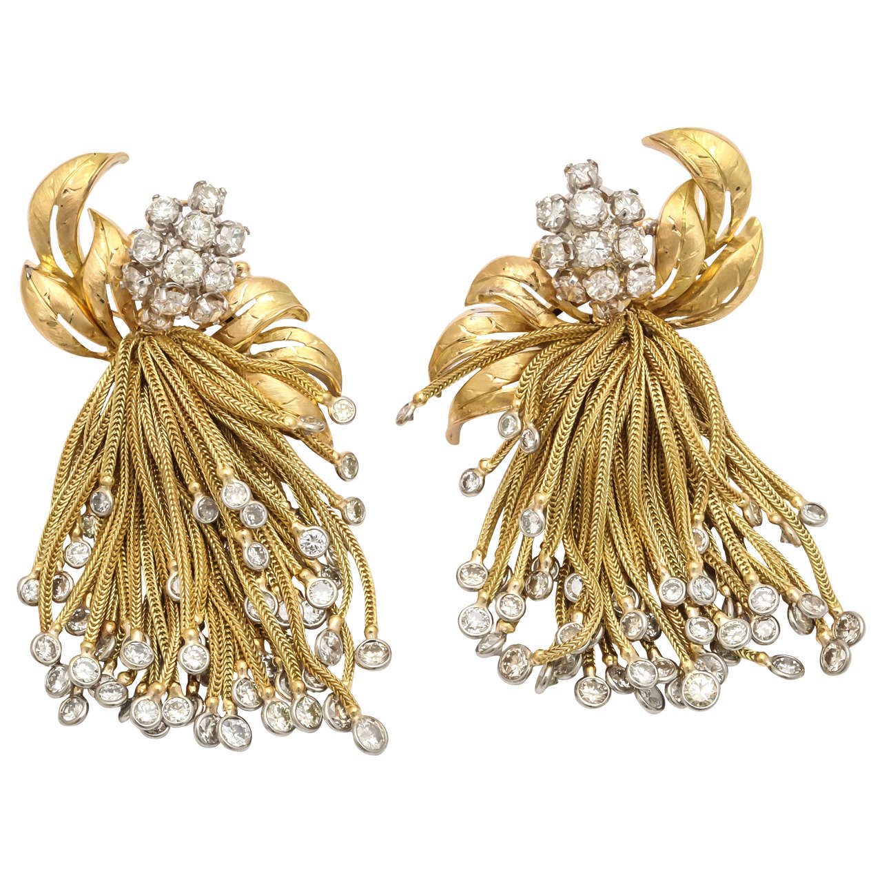 1960s Diamond Gold Large Cascade Tel Fringe Earrings For