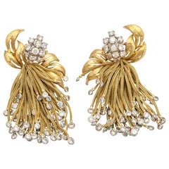 1960s  Diamond Gold Large Cascade Tassel Fringe Earrings