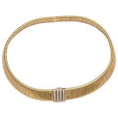 1980s Danilo Diamond Gold Snake Necklace