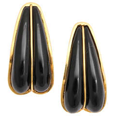 1980s Andrew Clunn Onyx Gold Split Seam Double Set Earclips