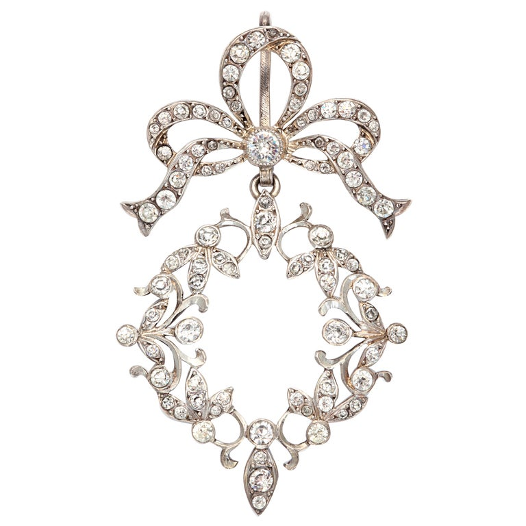 French Art Nouveau Sterling Silver and Paste Pendant For Sale