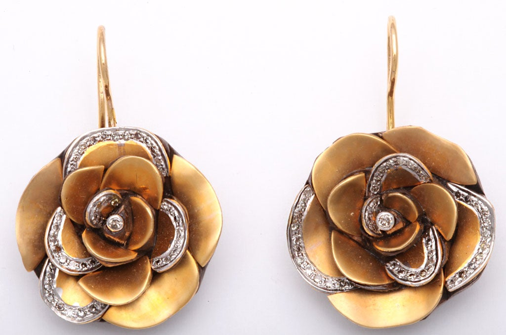 Modern  Gold  Rose Flower Earrings with Diamond Petals 2