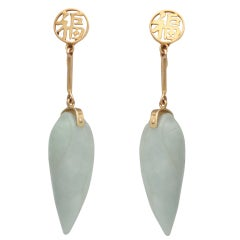 Mod Look Carved Light Green Jade Teardrop Chinese Earrings