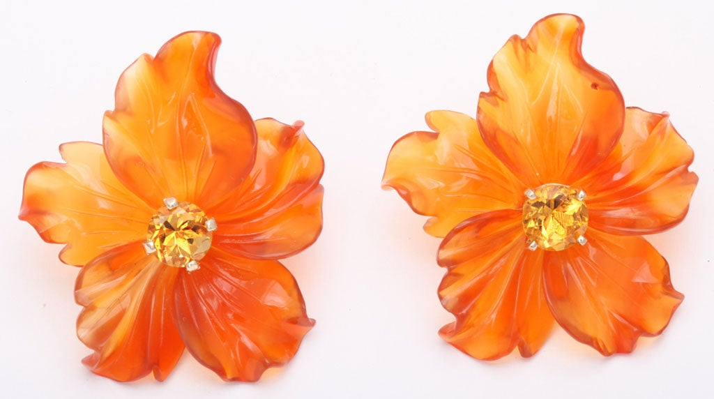 Carved Carnelian Flower Jackets with Citrine Stud Earring 2