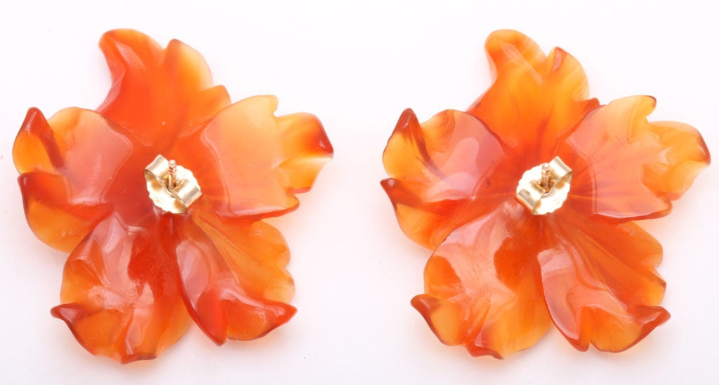 Carved Carnelian Flower Jackets with Citrine Stud Earring 3