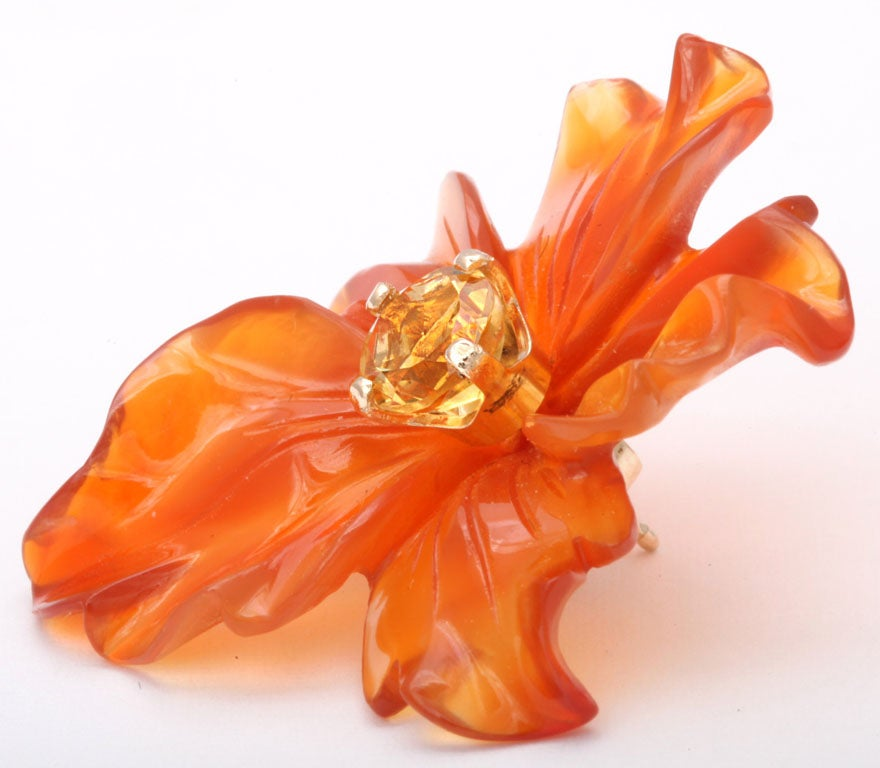 Carved Carnelian Flower Jackets with Citrine Stud Earring 4